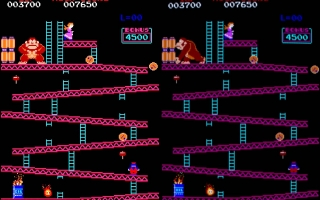 Donkey Kong (MAME 0.150) (No Filters and HLSL, side by side)